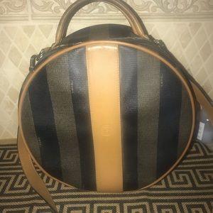 Fendi Vintage Pequin Stripe Round Shoulder Bag